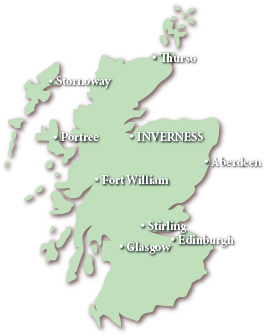 Image of a Map of Scotland showing Inverness, Edinburgh, Glasgow, Stirling, Aberdeen, Fort William, Portree, Stornoway and Thurso